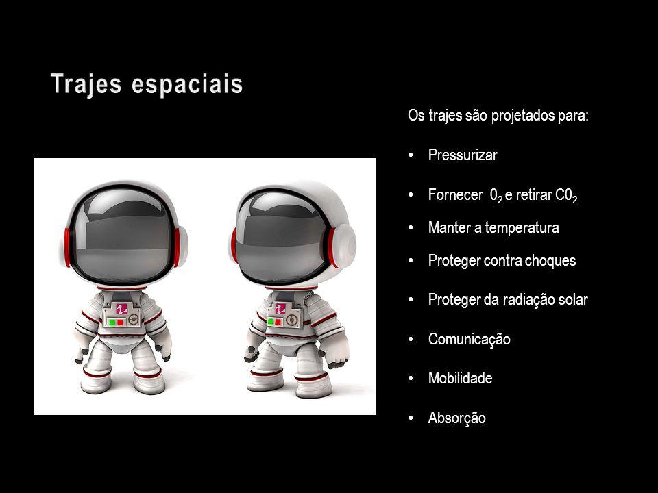 Trajes espaciais Os trajes são projetados para: Pressurizar