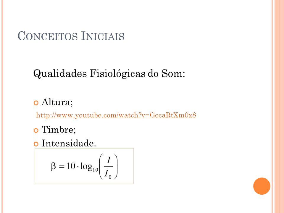 Conceitos Iniciais Qualidades Fisiológicas do Som: Altura; Timbre;