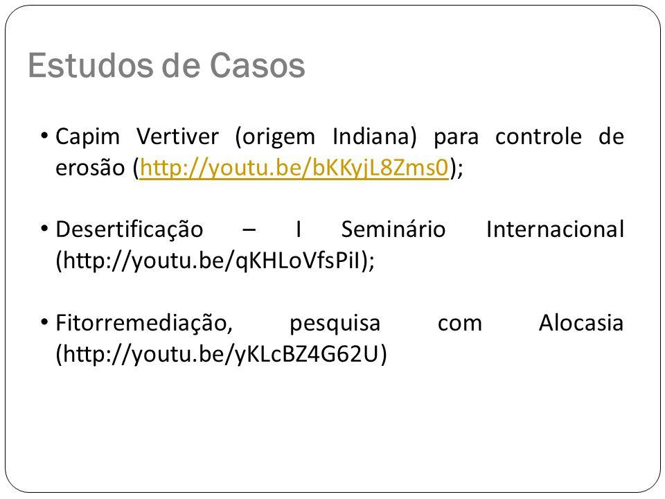 Estudos de Casos Capim Vertiver (origem Indiana) para controle de erosão (http://youtu.be/bKKyjL8Zms0);