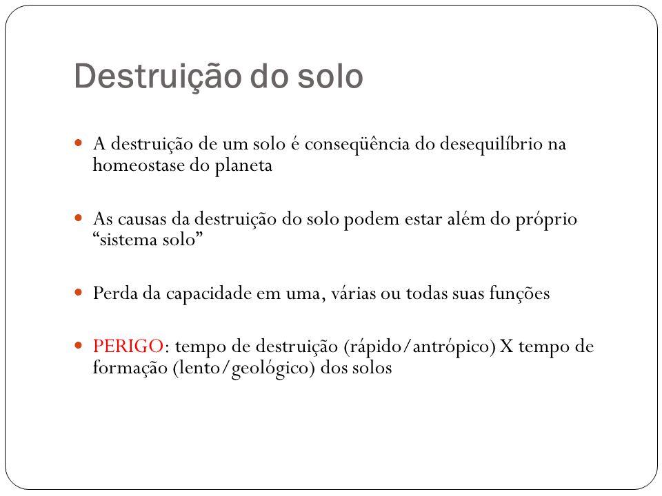Destruição do solo A destruição de um solo é conseqüência do desequilíbrio na homeostase do planeta.