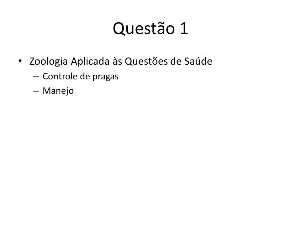 Questão 1 Zoologia Aplicada às Questões de Saúde Controle de pragas