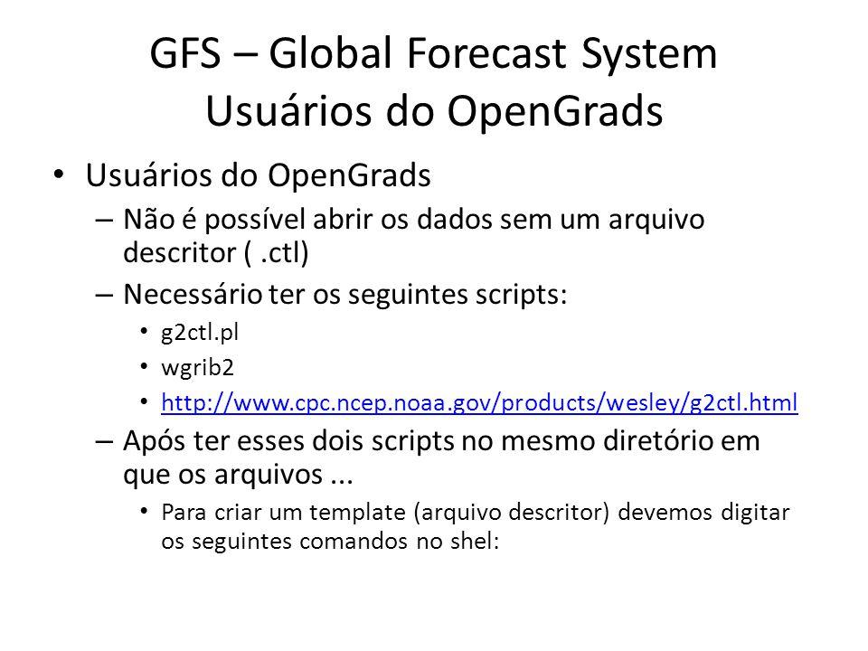 GFS – Global Forecast System Usuários do OpenGrads