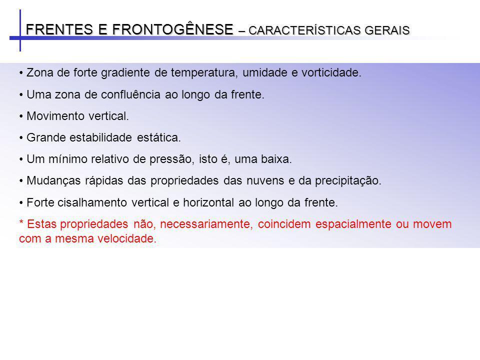 FRENTES E FRONTOGÊNESE – CARACTERÍSTICAS GERAIS