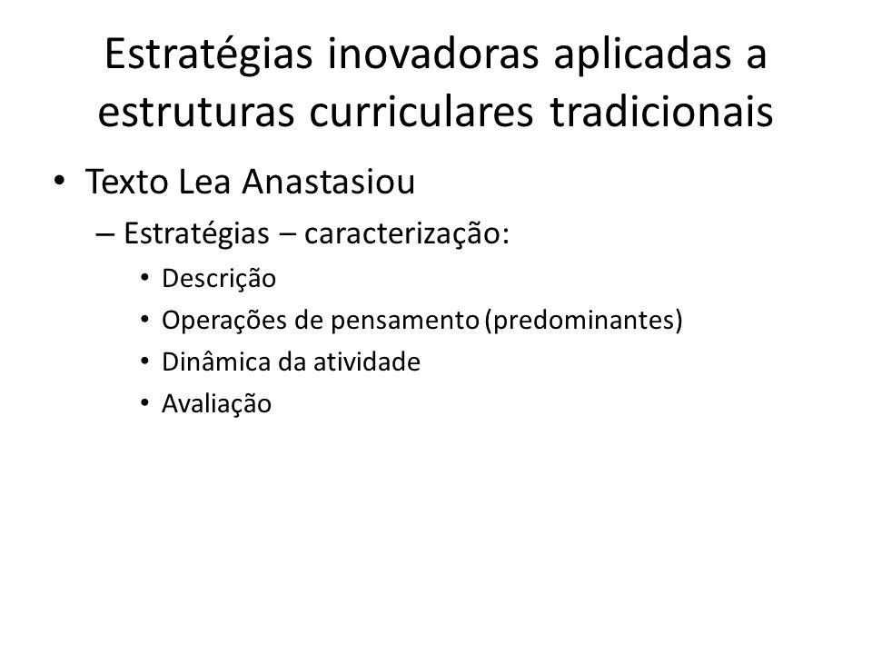 Estratégias inovadoras aplicadas a estruturas curriculares tradicionais