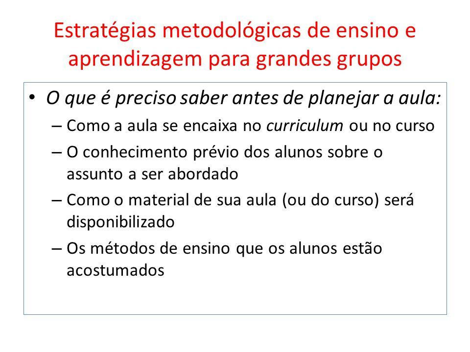 Estratégias metodológicas de ensino e aprendizagem para grandes grupos