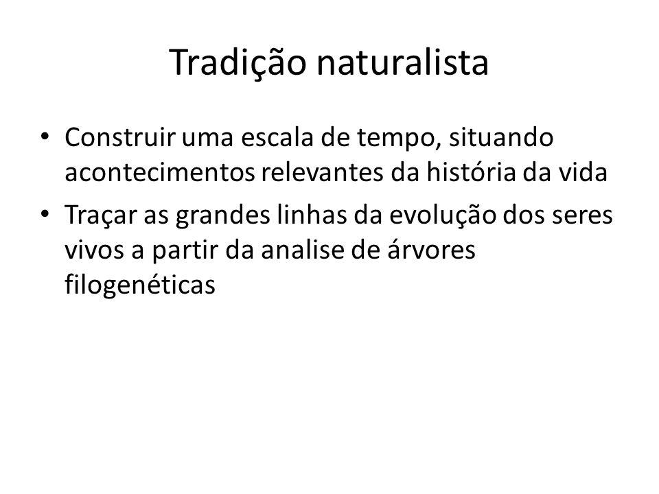 Tradição naturalista Construir uma escala de tempo, situando acontecimentos relevantes da história da vida.