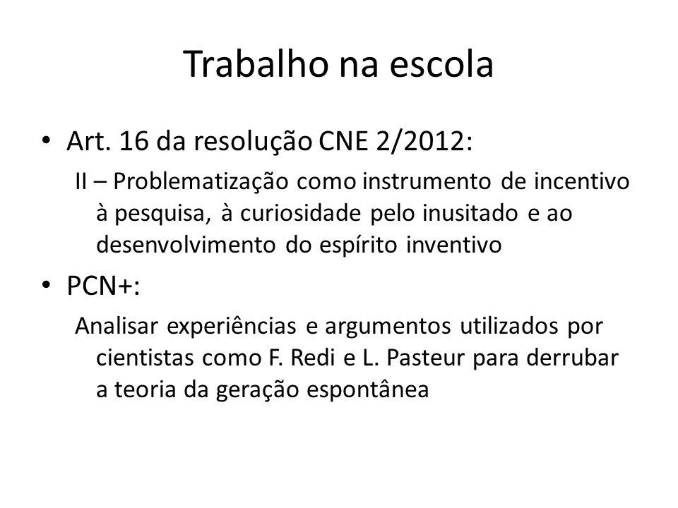 Trabalho na escola Art. 16 da resolução CNE 2/2012: PCN+: