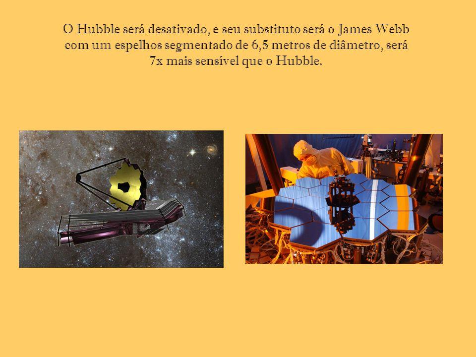 O Hubble será desativado, e seu substituto será o James Webb com um espelhos segmentado de 6,5 metros de diâmetro, será 7x mais sensível que o Hubble.