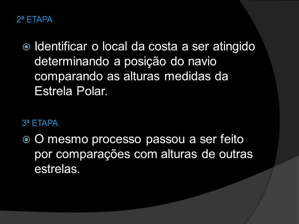 2ª ETAPA Identificar o local da costa a ser atingido determinando a posição do navio comparando as alturas medidas da Estrela Polar.