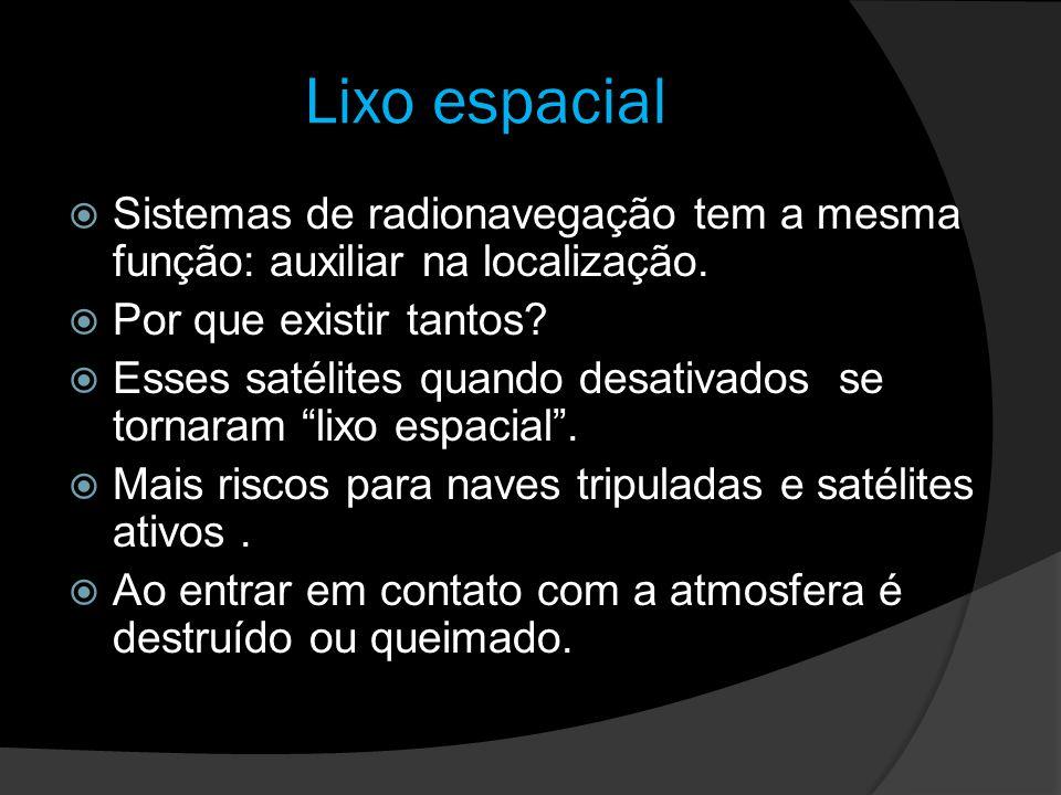 Lixo espacial Sistemas de radionavegação tem a mesma função: auxiliar na localização. Por que existir tantos