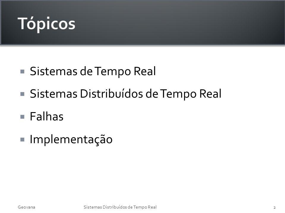 Tópicos Sistemas de Tempo Real Sistemas Distribuídos de Tempo Real