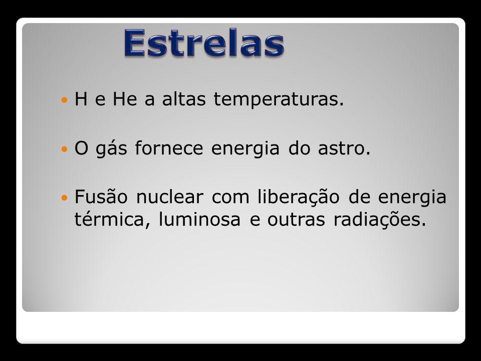 Estrelas H e He a altas temperaturas. O gás fornece energia do astro.