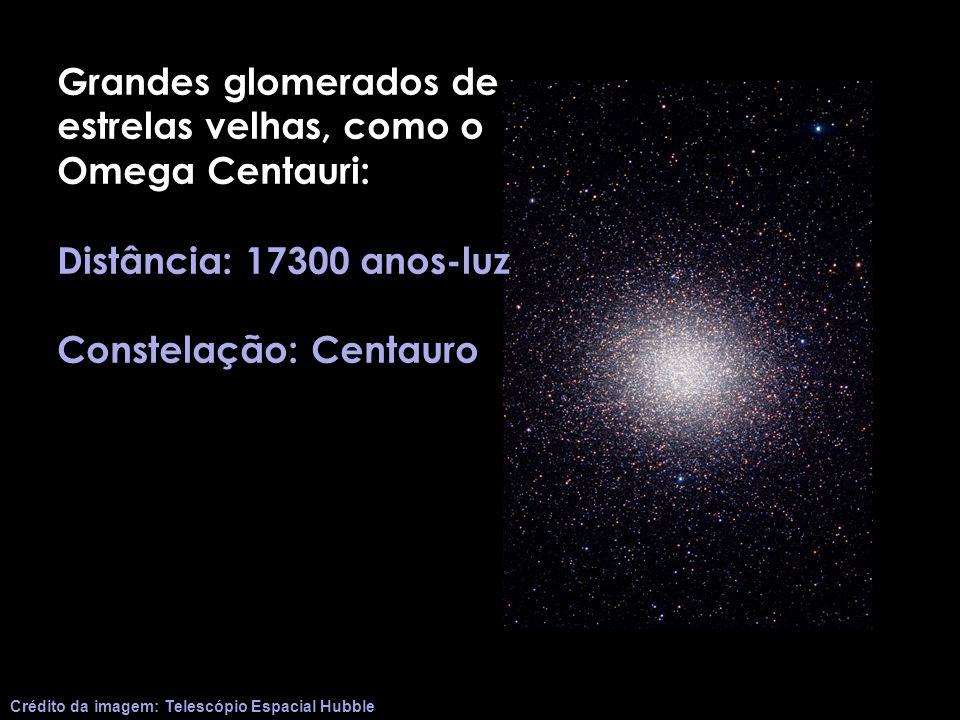 Grandes glomerados de estrelas velhas, como o Omega Centauri: