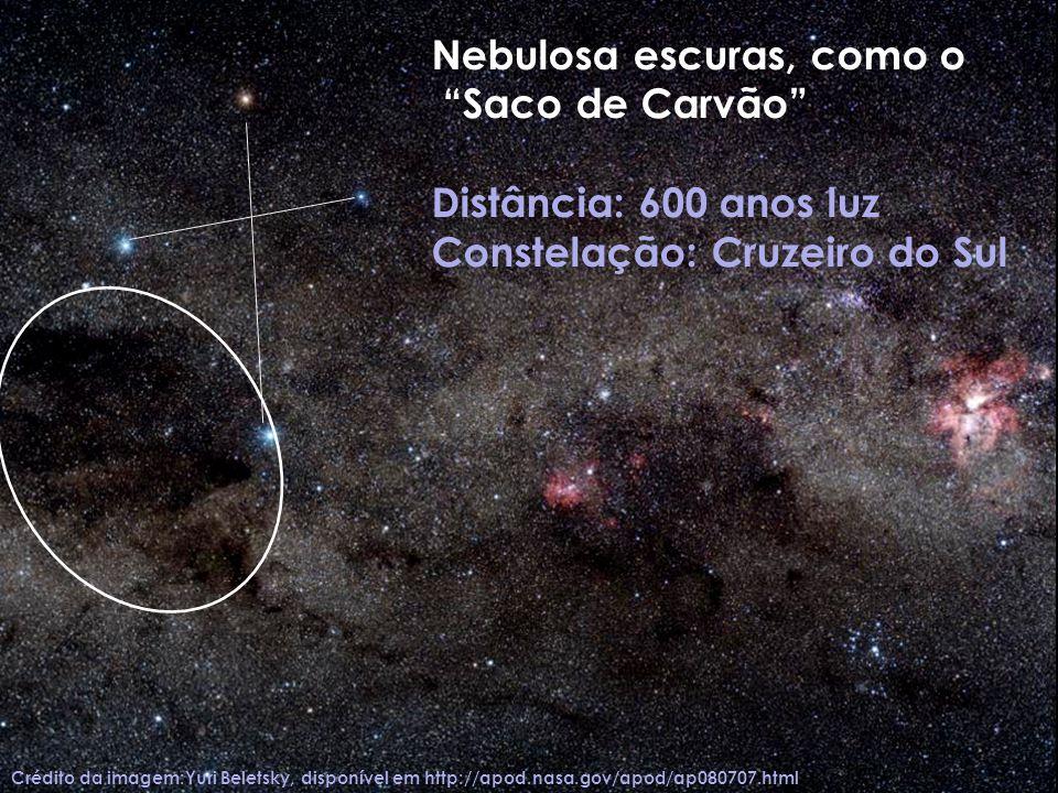 Nebulosa escuras, como o Saco de Carvão Distância: 600 anos luz