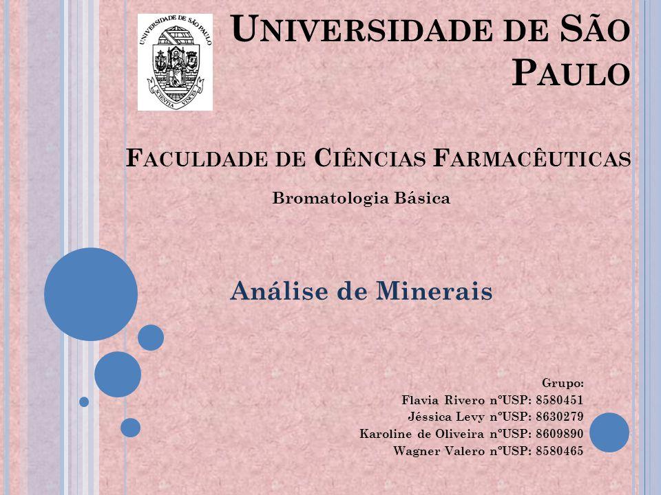 Universidade de São Paulo Faculdade de Ciências Farmacêuticas