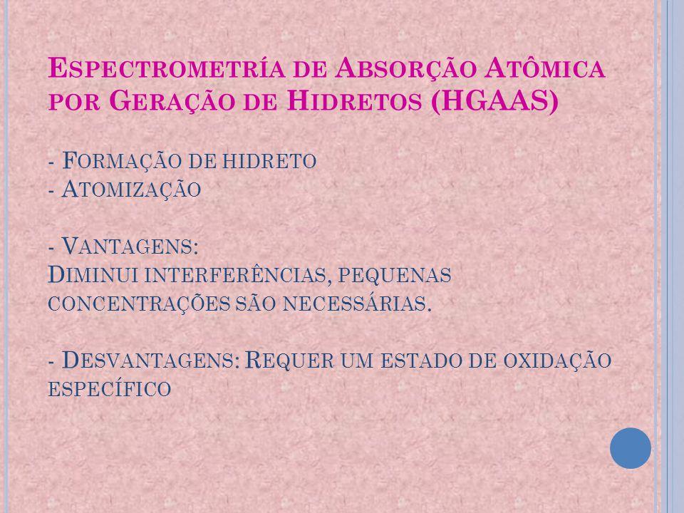 Espectrometría de Absorção Atômica por Geração de Hidretos (HGAAS) - Formação de hidreto - Atomização - Vantagens: Diminui interferências, pequenas concentrações são necessárias.