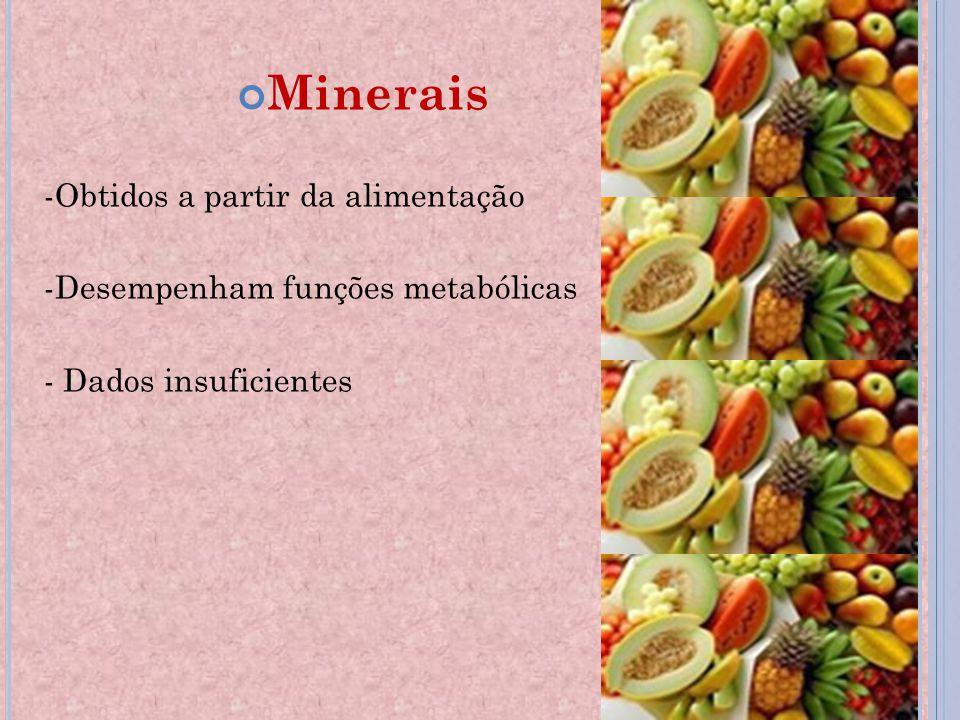 Minerais -Obtidos a partir da alimentação