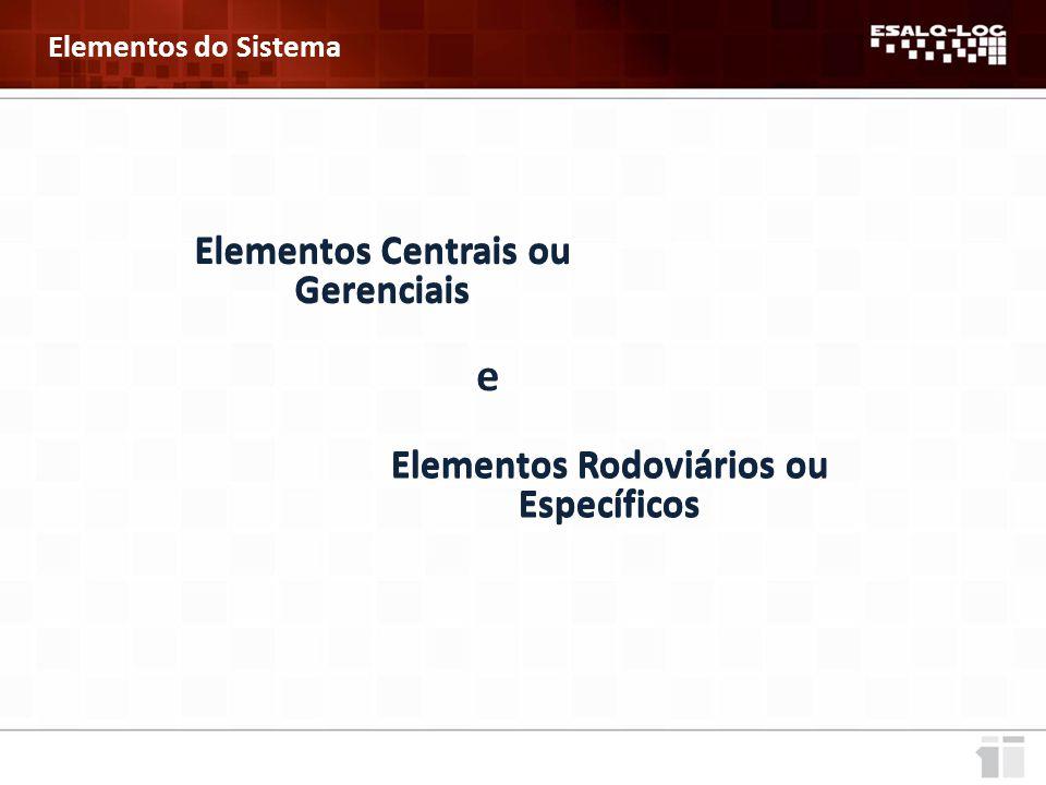 Elementos Centrais ou Gerenciais Elementos Rodoviários ou Específicos