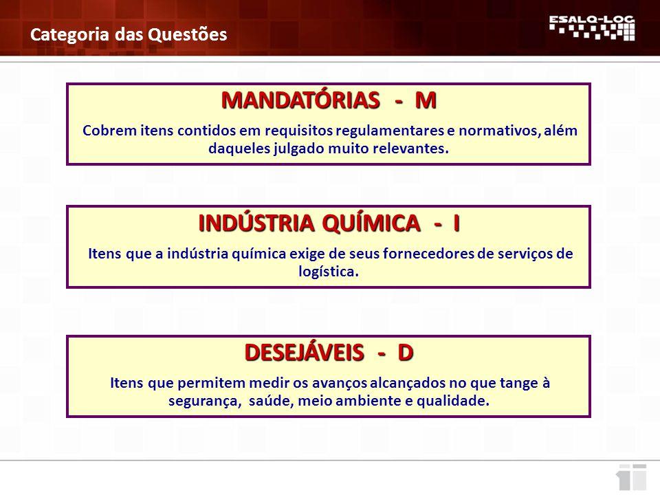MANDATÓRIAS - M INDÚSTRIA QUÍMICA - I DESEJÁVEIS - D