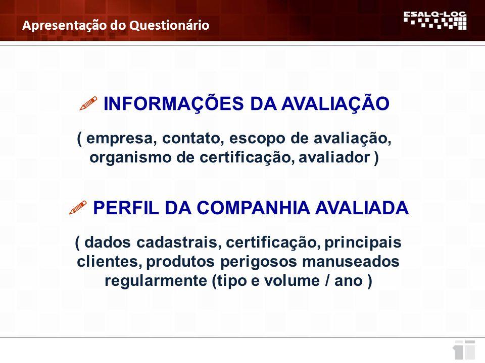  INFORMAÇÕES DA AVALIAÇÃO  PERFIL DA COMPANHIA AVALIADA