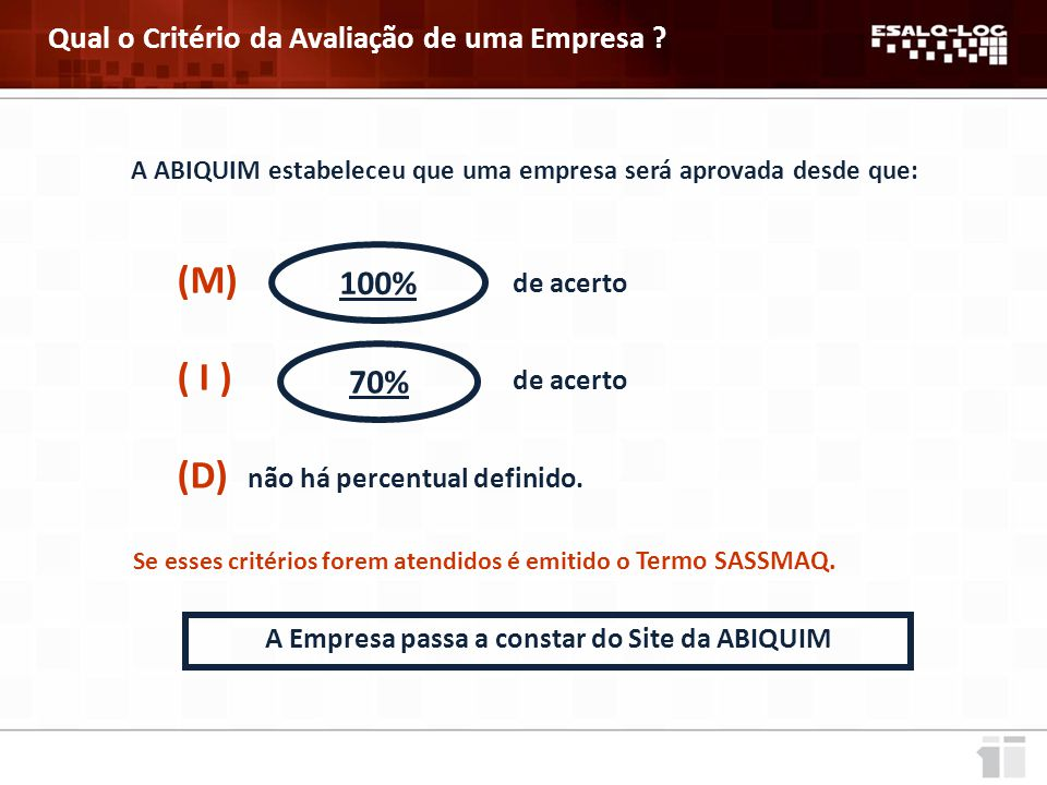 100% 70% Qual o Critério da Avaliação de uma Empresa ( I ) de acerto