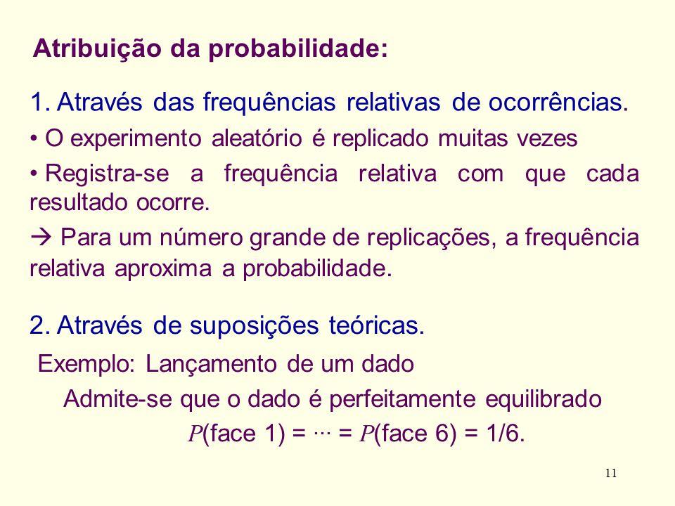 Atribuição da probabilidade: