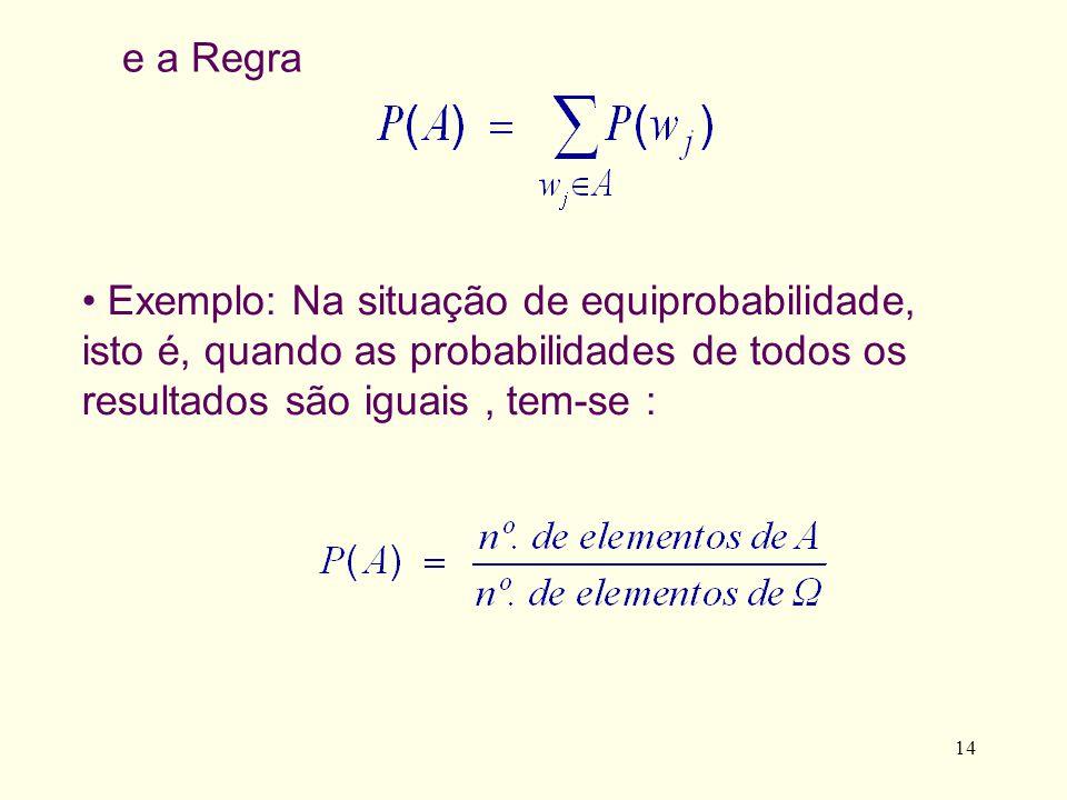 e a Regra Exemplo: Na situação de equiprobabilidade, isto é, quando as probabilidades de todos os resultados são iguais , tem-se :