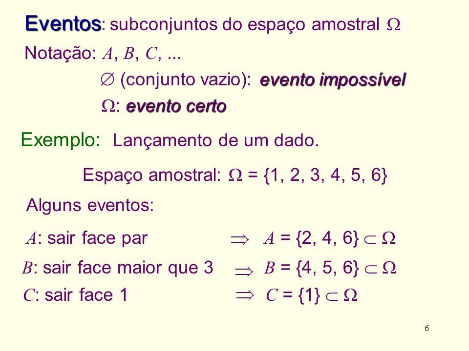 Eventos: subconjuntos do espaço amostral 