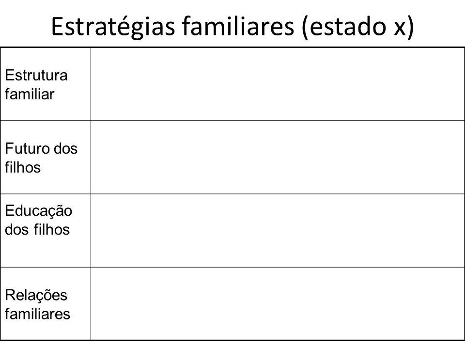 Estratégias familiares (estado x)