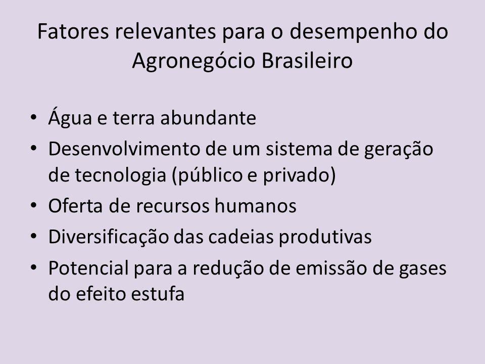 Fatores relevantes para o desempenho do Agronegócio Brasileiro