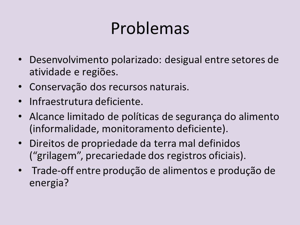 Problemas Desenvolvimento polarizado: desigual entre setores de atividade e regiões. Conservação dos recursos naturais.