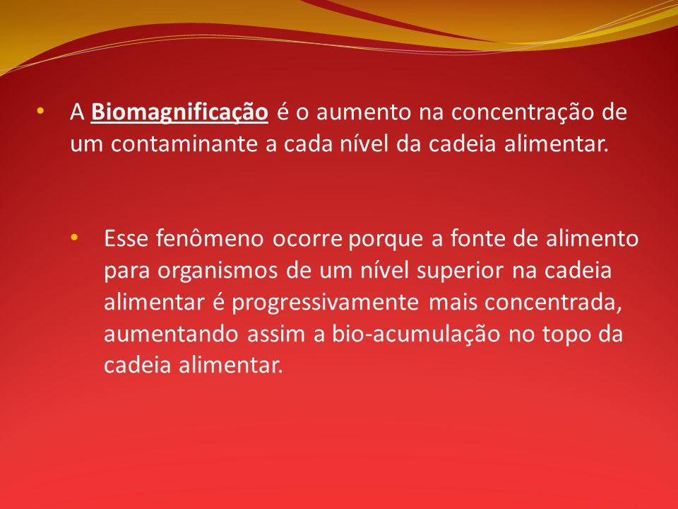 A Biomagnificação é o aumento na concentração de um contaminante a cada nível da cadeia alimentar.