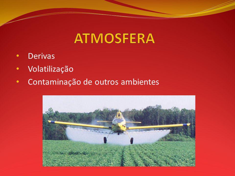 ATMOSFERA Derivas Volatilização Contaminação de outros ambientes