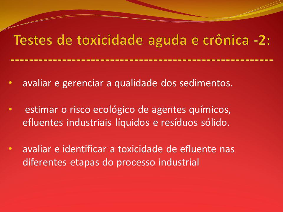 Testes de toxicidade aguda e crônica -2: -------------------------------------------------------