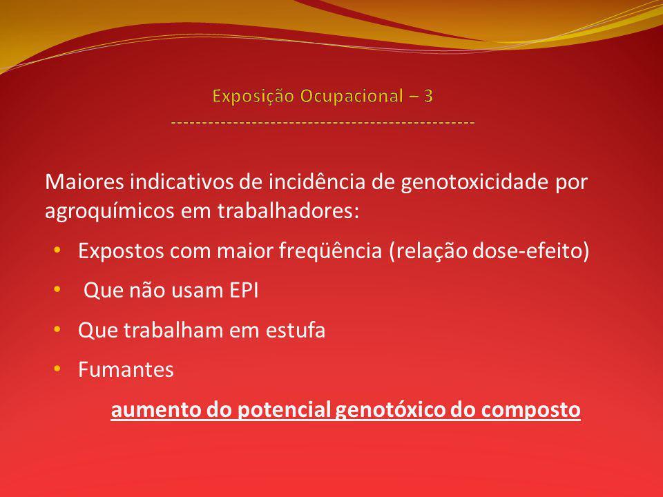 Expostos com maior freqüência (relação dose-efeito) Que não usam EPI