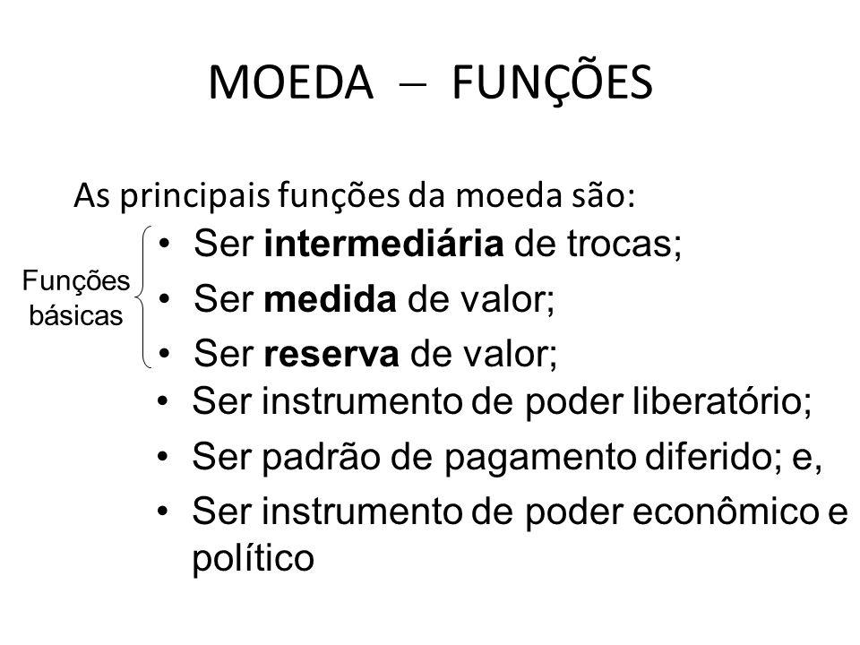 MOEDA  FUNÇÕES As principais funções da moeda são: