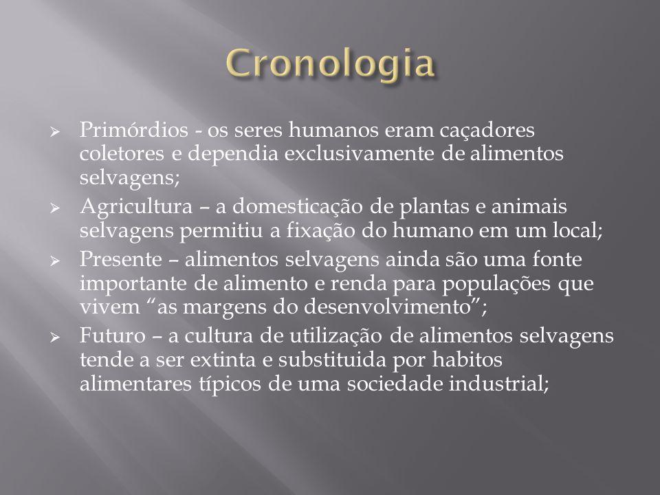 Cronologia Primórdios - os seres humanos eram caçadores coletores e dependia exclusivamente de alimentos selvagens;