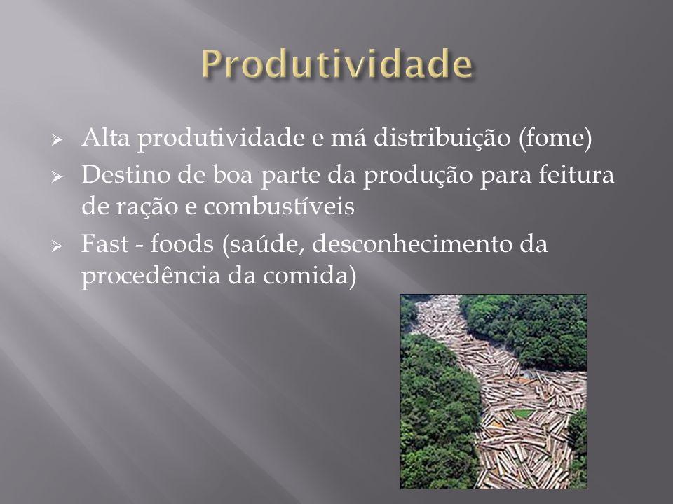 Produtividade Alta produtividade e má distribuição (fome)