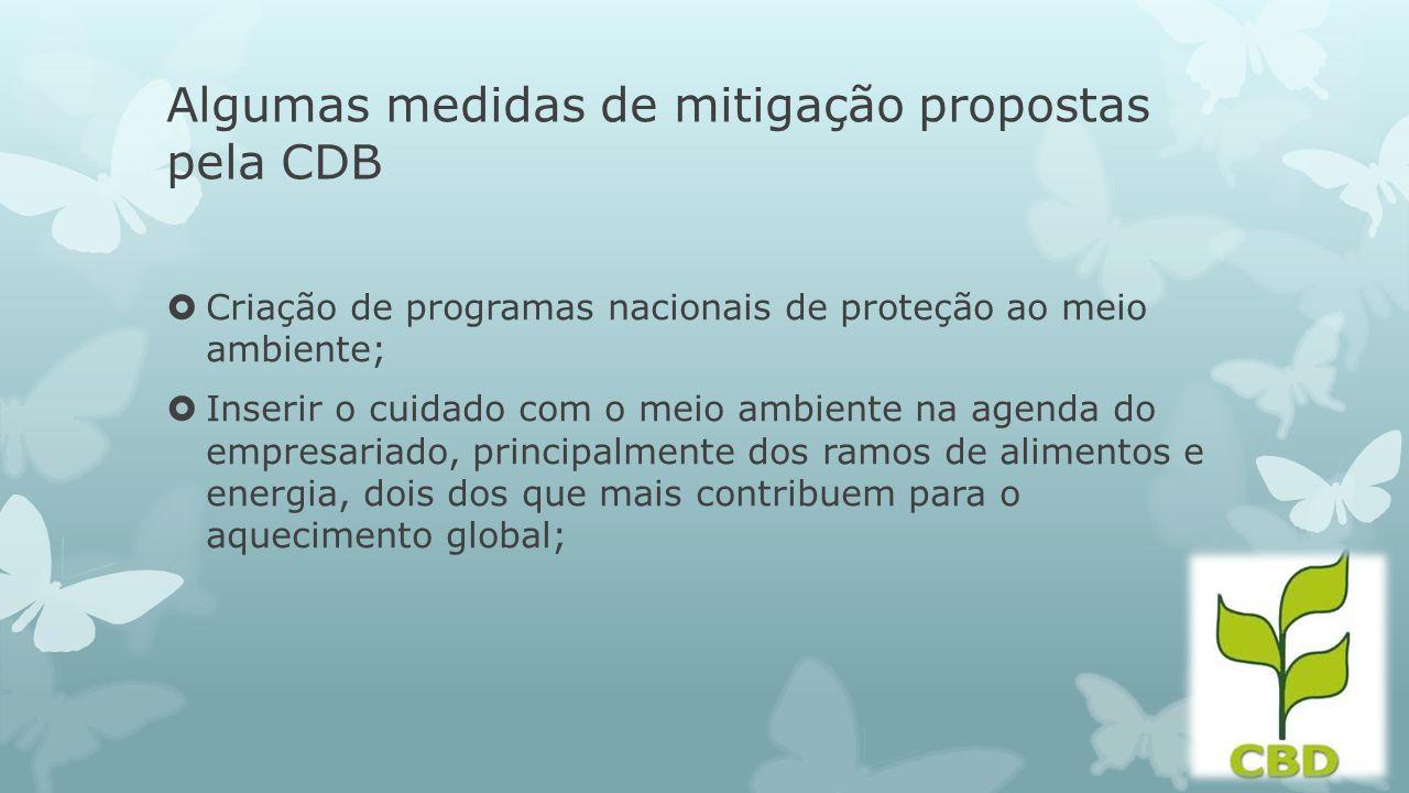 Algumas medidas de mitigação propostas pela CDB