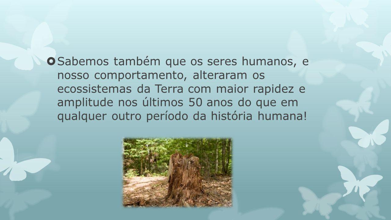 Sabemos também que os seres humanos, e nosso comportamento, alteraram os ecossistemas da Terra com maior rapidez e amplitude nos últimos 50 anos do que em qualquer outro período da história humana!