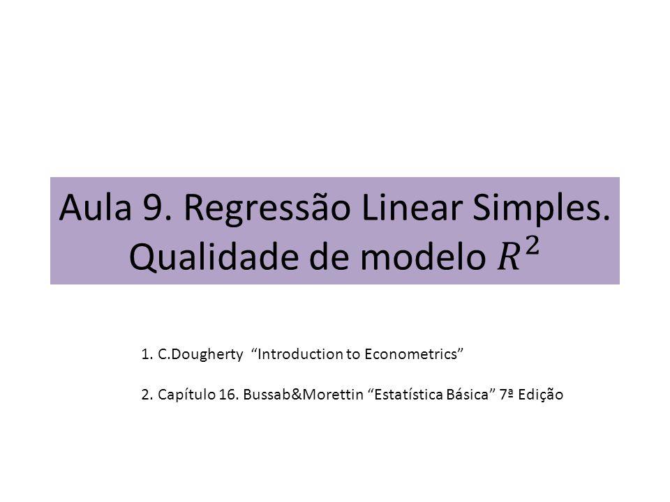 Aula 9. Regressão Linear Simples. Qualidade de modelo 𝑅 2