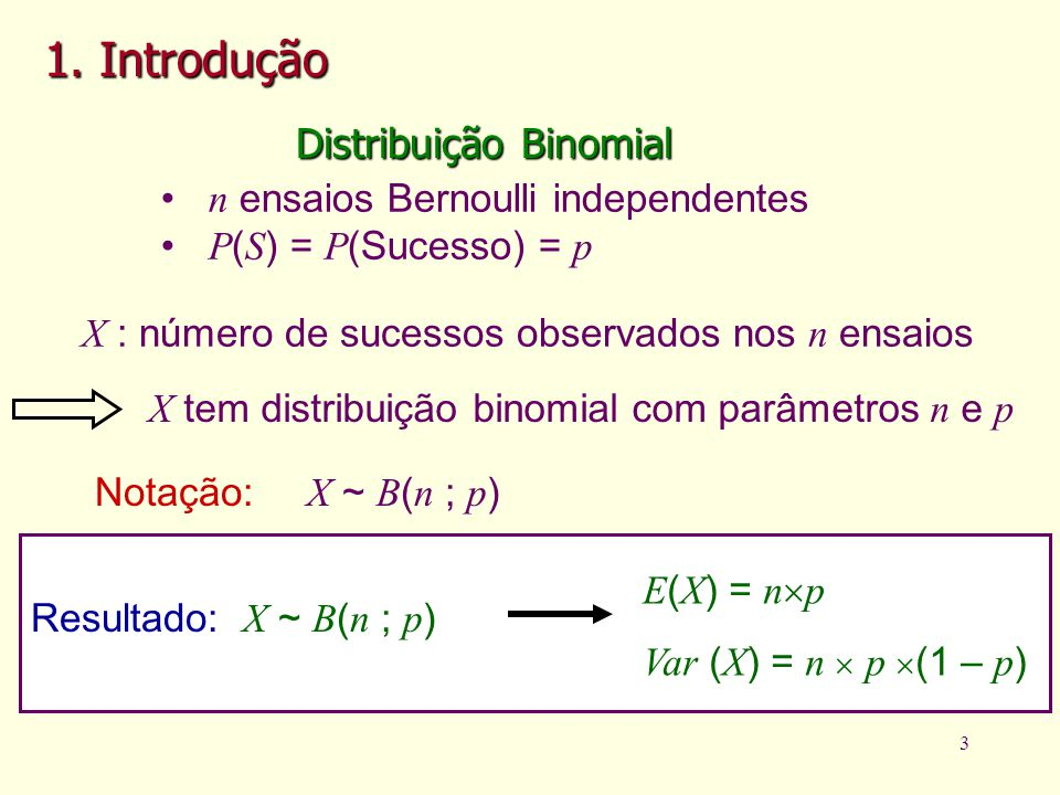 1. Introdução Distribuição Binomial n ensaios Bernoulli independentes