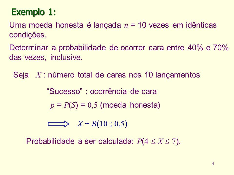 Exemplo 1: Uma moeda honesta é lançada n = 10 vezes em idênticas condições.