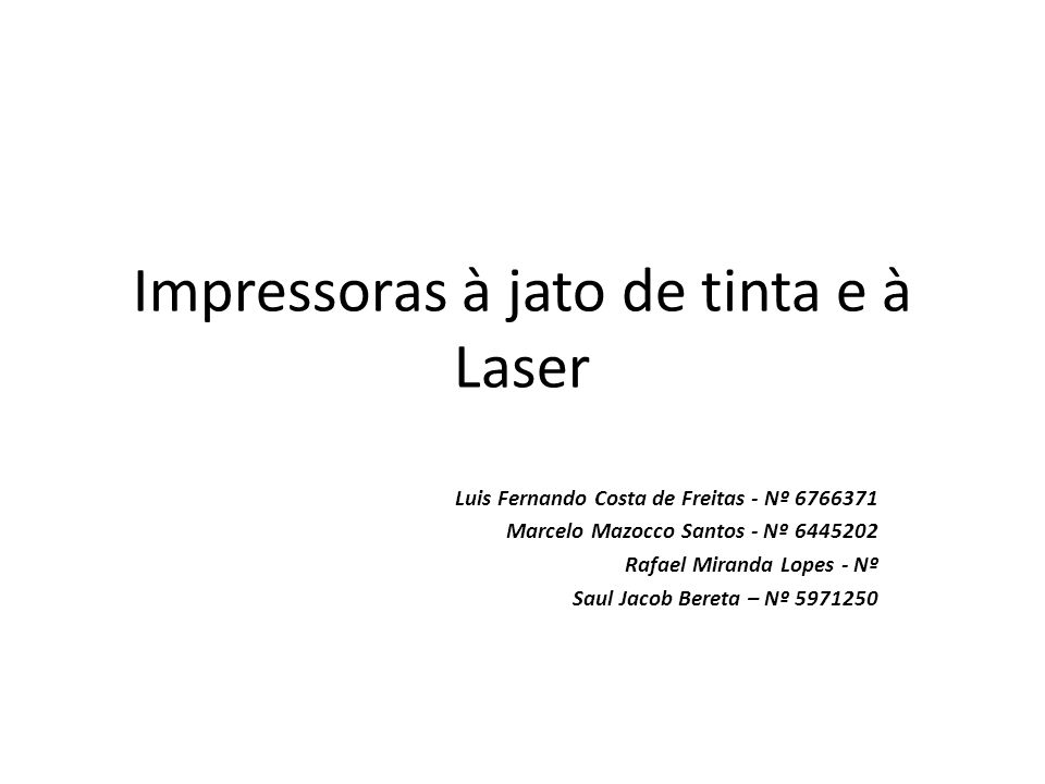Impressoras à jato de tinta e à Laser
