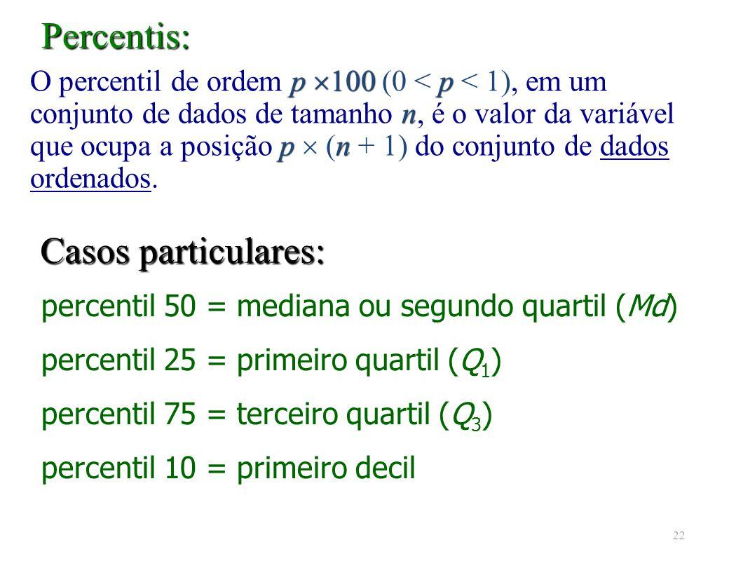 Percentis: Casos particulares:
