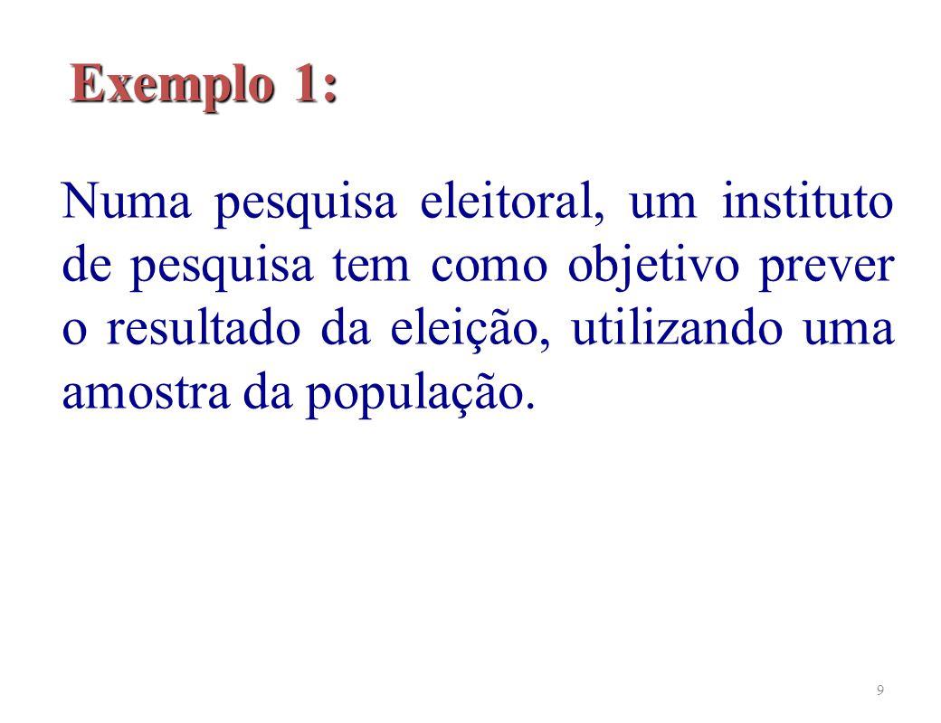 Exemplo 1: Numa pesquisa eleitoral, um instituto de pesquisa tem como objetivo prever o resultado da eleição, utilizando uma amostra da população.
