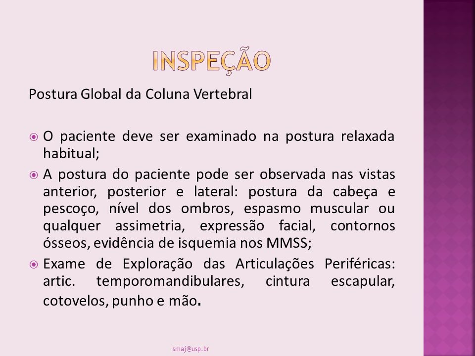 INSPEÇÃO Postura Global da Coluna Vertebral