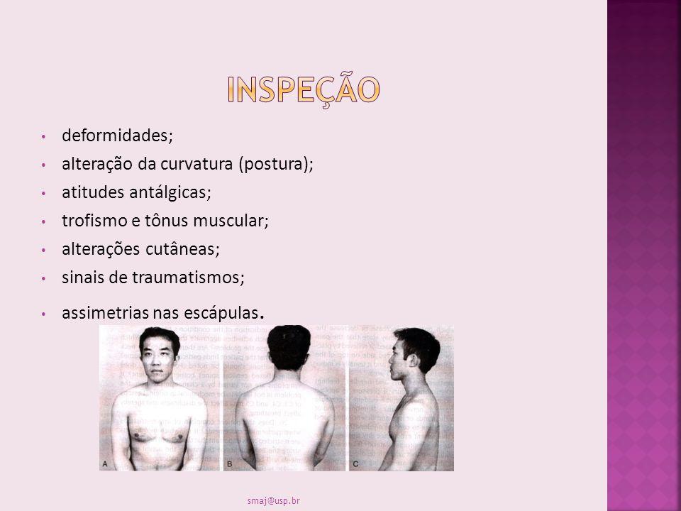 INSPEÇÃO deformidades; alteração da curvatura (postura);