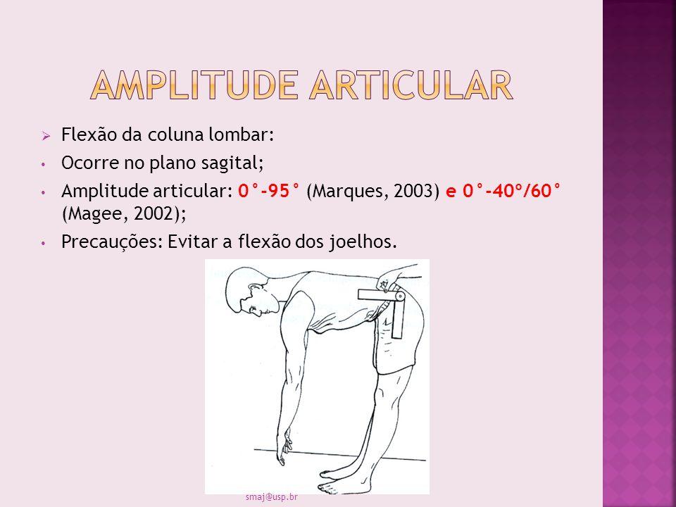 Amplitude articular Flexão da coluna lombar: Ocorre no plano sagital;