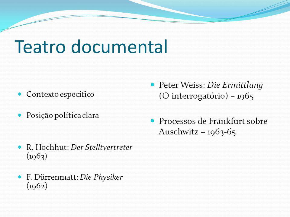 Teatro documental Contexto específico. Posição política clara. R. Hochhut: Der Stelltvertreter (1963)